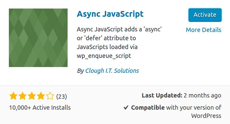 async javascript plugin in wordpress
