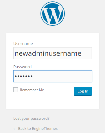 Log in with new user account
