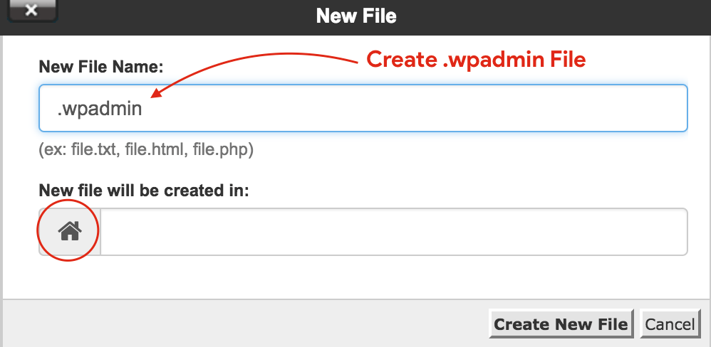 Create .wpadmin file in cpanel