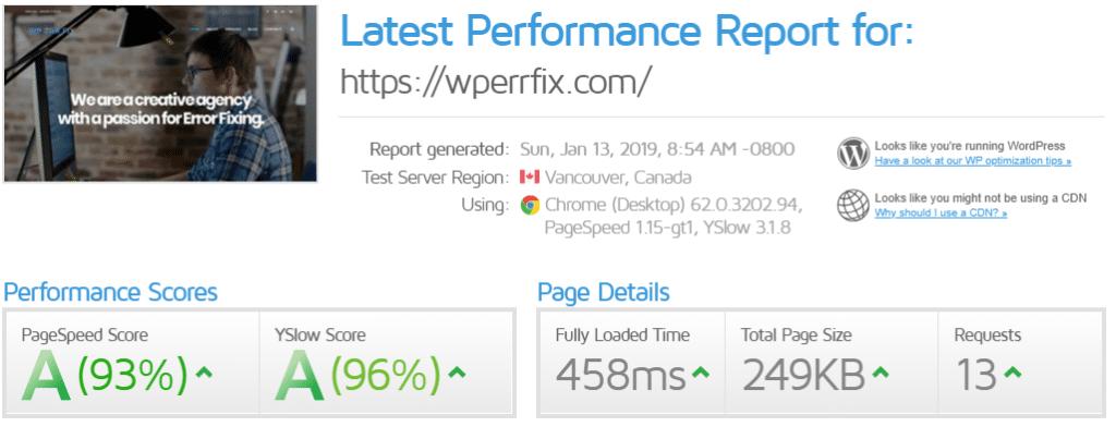 gtmetrix test wperrfix