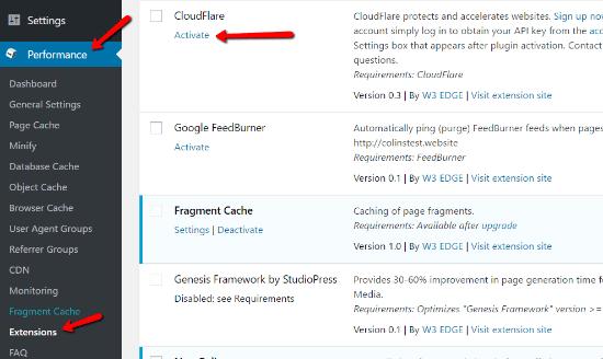 Configure W3 Total Cache CloudFlare Extension